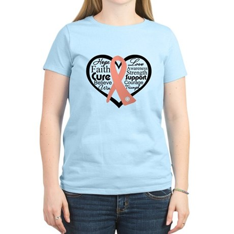 Uterine Cancer Heart Women's Light T-Shirt