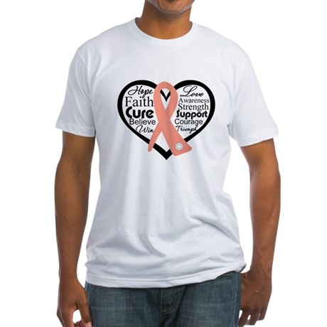 Uterine Cancer Heart Fitted T-Shirt