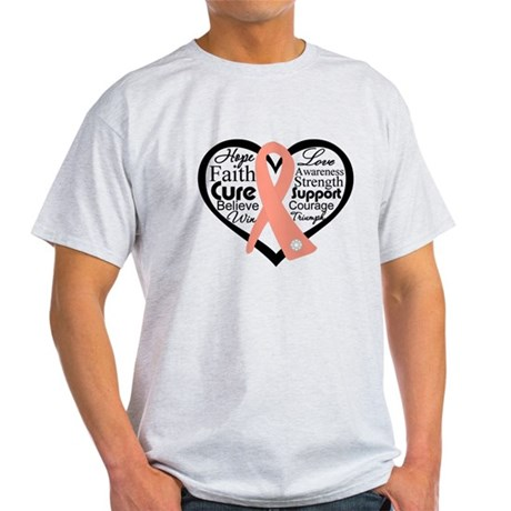 Uterine Cancer Heart Light T-Shirt