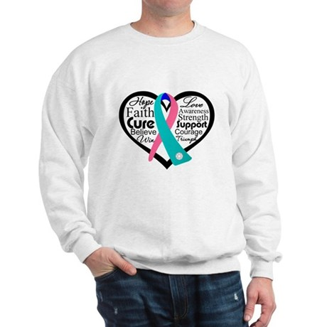 Thyroid Cancer Heart Sweatshirt