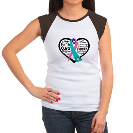 Thyroid Cancer Heart Women's Cap Sleeve T-Shirt