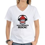 Sock Monkeys Rock Women's V-Neck T-Shirt