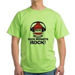 Sock Monkeys Rock Green T-Shirt