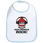 Sock Monkeys Rock Bib