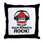 Sock Monkeys Rock Throw Pillow