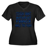 7 Days Blue Women's Plus Size V-Neck Dark T-Shirt