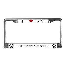 White I Love My Brittany Spaniels Frame