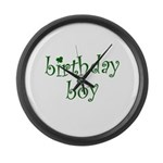 St. Patricks Day Birthday Boy Large Wall Clock