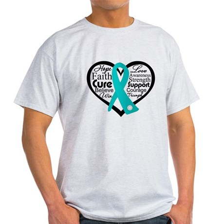 Heart Ovarian Cancer Light T-Shirt