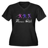 Throws Chick Women's Plus Size V-Neck Dark T-Shirt