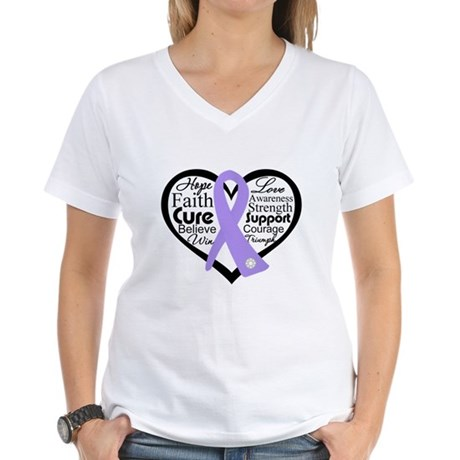 General Cancer Heart Women's V-Neck T-Shirt