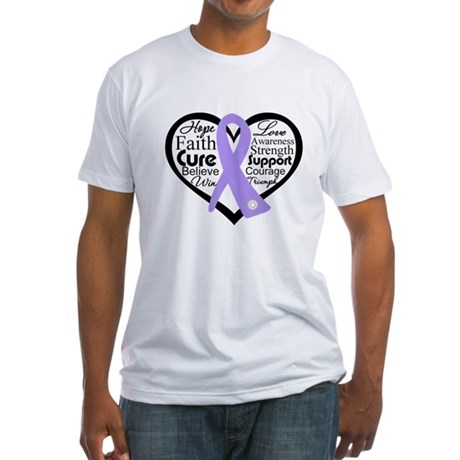 General Cancer Heart Fitted T-Shirt