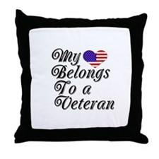 My Heart Belongs To A Veteran Throw Pillow