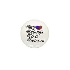 My Heart Belongs To A Veteran Mini Button (10 pack