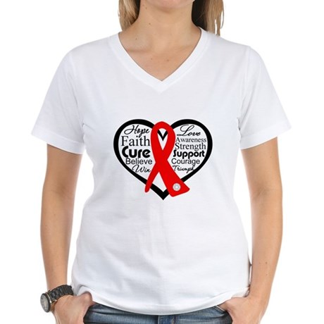 Blood Cancer Heart Women's V-Neck T-Shirt