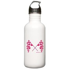 Pink Crossed Checkered Flags Water Bottle