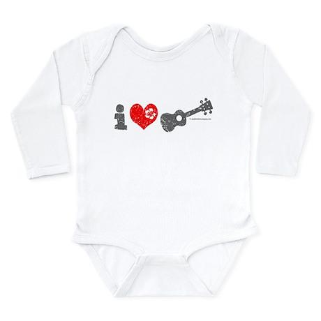 I Love Ukulele Long Sleeve Infant Bodysuit