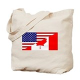 Canadian American Flag Tote Bag