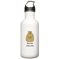 hang in there groundhog Water Bottle