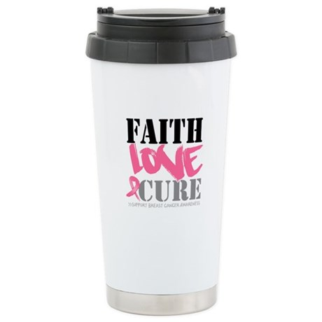 Faith Love Cure Breast Cancer Ceramic Travel Mug