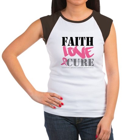 Faith Love Cure Breast Cancer Women's Cap Sleeve T