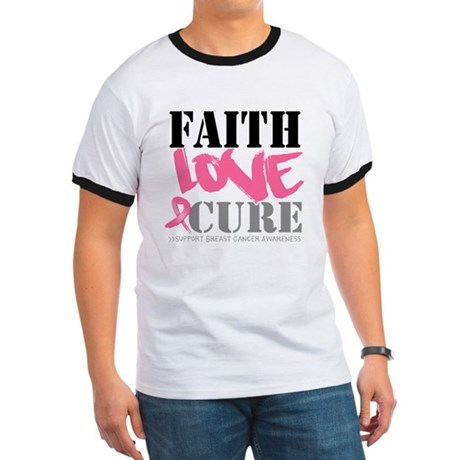 Faith Love Cure Breast Cancer Ringer T