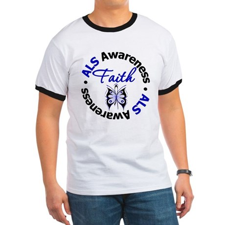 ALS Faith Butterfly Ringer T