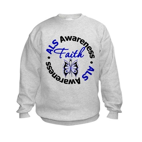 ALS Faith Butterfly Kids Sweatshirt