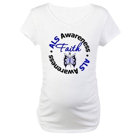 ALS Faith Butterfly Maternity T-Shirt