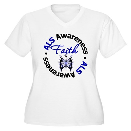 ALS Faith Butterfly Women's Plus Size V-Neck T-Shi