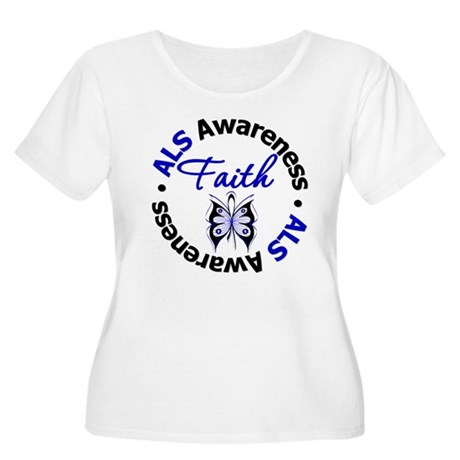 ALS Faith Butterfly Women's Plus Size Scoop Neck T