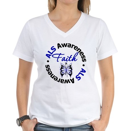 ALS Faith Butterfly Women's V-Neck T-Shirt