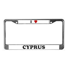 I Love Cyprus License Plate Frame