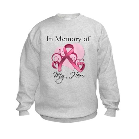 Breast Cancer In Memory Hero Kids Sweatshirt