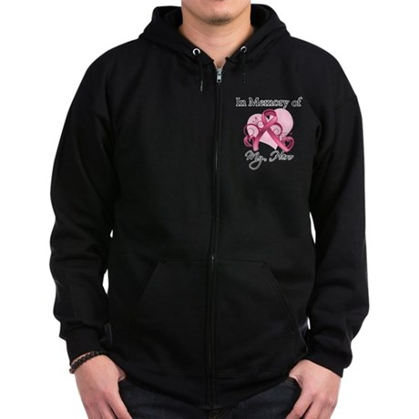 Breast Cancer In Memory Hero Zip Hoodie (dark)