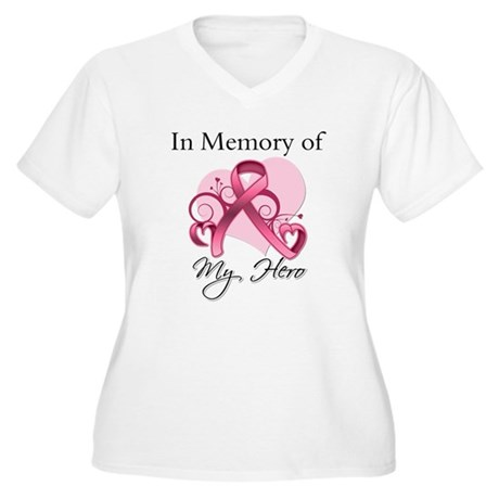 Breast Cancer In Memory Hero Women's Plus Size V-N