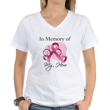Breast Cancer In Memory Hero Women's V-Neck T-Shir