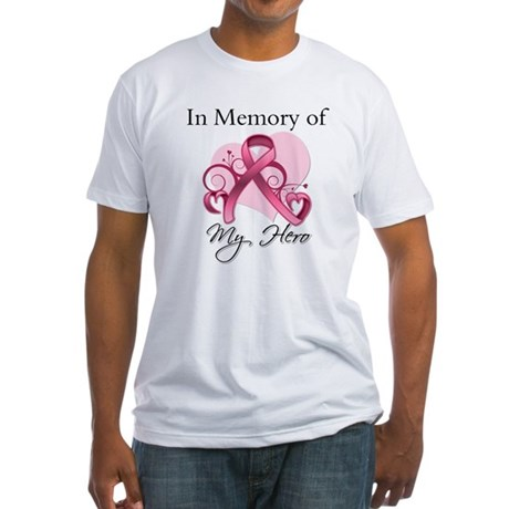Breast Cancer In Memory Hero Fitted T-Shirt