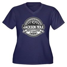 Jackson Hole Grey Women's Plus Size V-Neck Dark T-