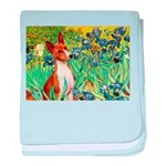 Basenji in Irises baby blanket