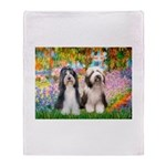 Garden / 2 Bearded Collie Throw Blanket