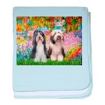 Garden / 2 Bearded Collie baby blanket