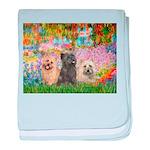 Garden/3 Cairn Terriers baby blanket