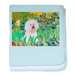 Irises and Bichon baby blanket