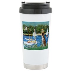 Sailboats & Boxer Ceramic Travel Mug