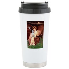 Angel & Bull Terrier Ceramic Travel Mug