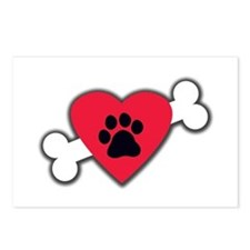 Heart Paw Print Bone Postcards (Package of 8)