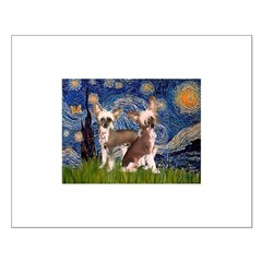 Starry Night / 2Chinese Crest Small Poster