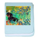 Irises & Dachshund (BT4) baby blanket