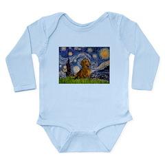 Starry / Dachshund Long Sleeve Infant Bodysuit